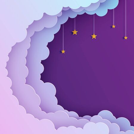 Night sky in paper cut style. Cut out 3d background with violet and blue gradient cloudy landscape with stars on rope papercut art. Cute origami clouds. Vector card for wish good night sweet dreams.