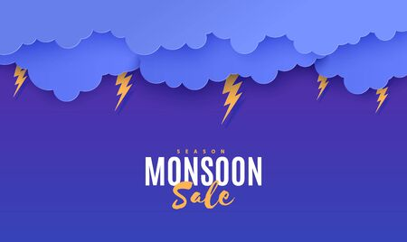Thunder lightning and clouds in the paper cut style. Vector origami storm weather concept with cloudy sky and flash. Storm papercut background horizontal banner. Monsoon sale flyer template.