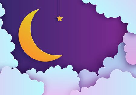 Night sky in paper cut style. Cut out 3d background with violet and blue gradient cloudy landscape with star on rope and moon papercut art. Cute origami clouds. Vector good night card. Ilustrace
