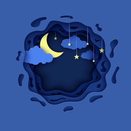 Night sky in round shape in paper cut style. 3d background with blue cloudy landscape with star on rope and moon papercut art. Cute origami clouds. Vector card for wish good night sweet dreams.