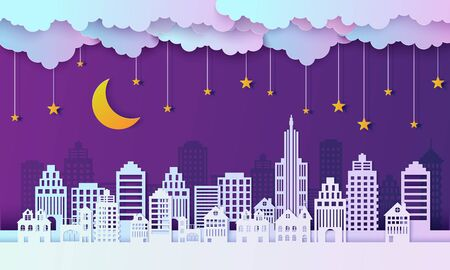Night city landscape in papercut style. Violet and blue gradient paper cut office residential buildings and evening cloudy sky with moon and stars on rope, vector card architecture horizontal panorama