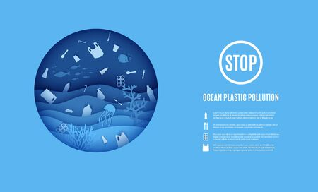 World Ocean Day, stop ocean plastic pollution banner. View of the underwater world through the porthole of a submarine in paper cut style. Vector papercut wave, tropical marine life in round frame