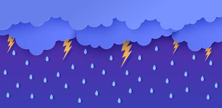 Rain thunder lightning and clouds in the paper cut style. Vector storm weather concept with falling water drops from the cloudy sky and flash. Storm papercut background horizontal banner Çizim
