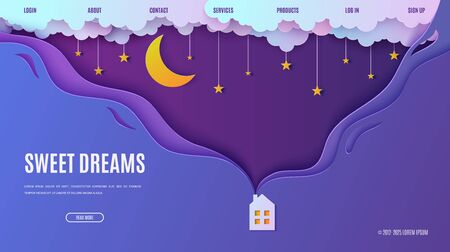 Night sky in paper cut style. Web page design template cute house with smoke from the chimney. 3d background with cloudy landscape with stars on rope and moon papercut art. Vector card. Origami clouds Ilustrace