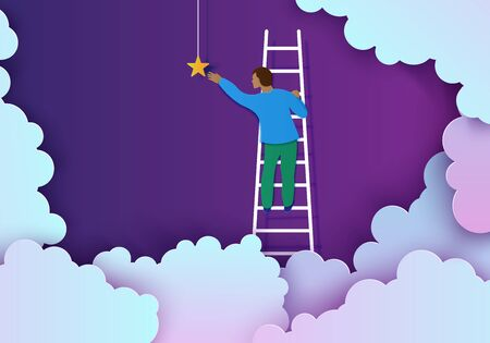 Man on a ladder to pick the star above cloud in paper cut style. Papercut businessman climbing on ladder to sky and trying to catch dream star. Follow your dreams vector motivational poster concept Ilustracja