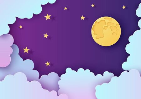 Night sky in paper cut style. Cut out 3d background with violet and blue gradient cloudy landscape with stars and full moon papercut art. Cute origami clouds. Vector card for wish good night dreams.