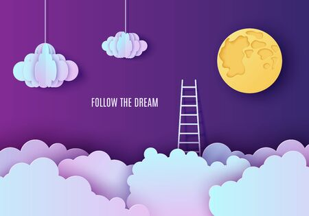 White stairs to climb above the cloud in the style of paper cut. Papercut night landscape climbing stairs to the sky and trying to achieve success Follow your dream vector motivational poster concept  イラスト・ベクター素材