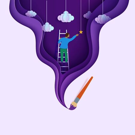 Man on a ladder to pick the star in cloudy sky paper cut style. Papercut paintbrush draw cutout businessman climbing on ladder to sky and trying to catch dream star. Vector motivational poster. Ilustracja
