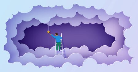 Man on a ladder to pick the star above cloud and moon in paper cut style. Papercut businessman climbing on ladder and trying to catch dream star. Follow your dreams vector motivational poster concept.