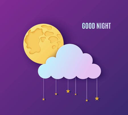 Night sky in paper cut style. Cut out 3d background with violet and blue gradient cloud and stars on rope and full moon papercut art. Cute origami cloudscape. Vector good night sweet dreams card.