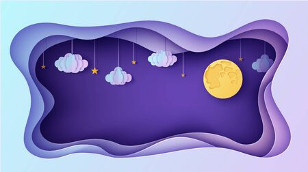 Night sky rectangular frame with stars and clouds on rope and full moon in paper cut style. Cut out 3d background papercut art. Fairy tale vector card illustration for wish good night sweet dreams