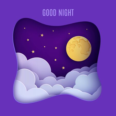 Night sky clouds frame like pillow in paper cut style. Cut out 3d background with violet and blue gradient cloudy landscape with gold stars and full moon papercut art. Cute vector origami clouds  イラスト・ベクター素材