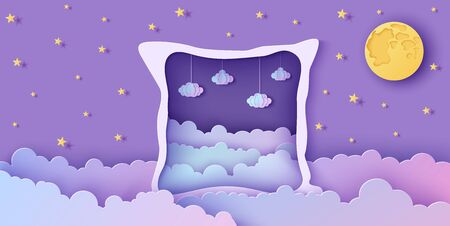 Night sky clouds frame like pillow in paper cut style. Cut out 3d background with violet and blue gradient cloudy landscape with gold stars and full moon papercut art. Cute vector origami clouds.