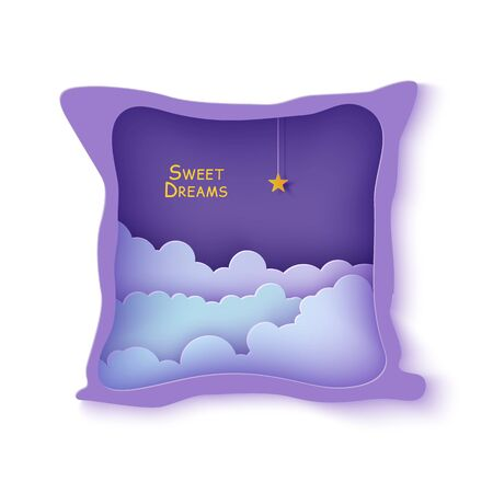 Night sky clouds frame like pillow with gold star on rope in paper cut style. Cut out 3d backdrop with violet blue gradient cloudy landscape papercut art. Vector card for wish sweet dreams good night