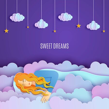 Sleeping girl in clouds in paper cut style. Young woman sleep and dreaming in night sky with gold stars on rope. Creative craft cloudy landscape. Fairy good night and sweet dreams vector illustrations