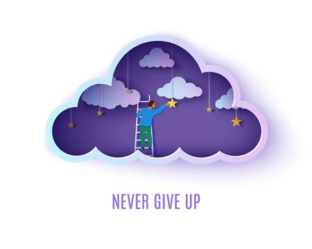 Man on a ladder to pick the star in the cloud night sky paper cut style. Papercut businessman climbing on ladder and trying to catch dream star. Follow your dreams vector motivational poster concept.