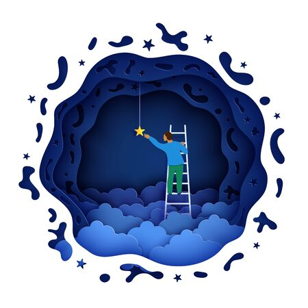 Man on a ladder to pick the star above cloud in paper cut style. Papercut businessman climbing on ladder to sky and trying to catch dream star. Follow your dreams vector motivational poster concept