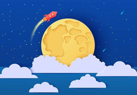 Red rocket launch in space in paper cut style. Absrtact galaxy universe landscape 3d craft background. Cutout spacecraft shuttle fly around Moon planet. Cute vector card for educational kids poster.