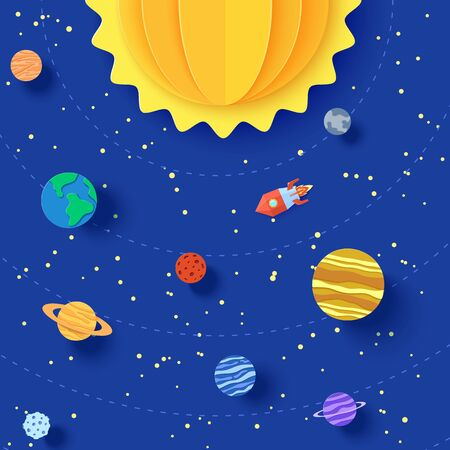 Solar system model in paper cut style. Cartoon planets, red polygonal rocket and origami UFO. 3d vector background with flying saucer in starry night sky. Childrens illustration of paper craft galaxy