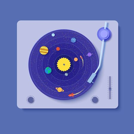 Gramophone with vinyl record in paper cut style. 3d illustration with space rocket and craft of solar system planets. Saturn Jupiter Venus Sun Neptune and galaxy. Vector party decoration card template Çizim