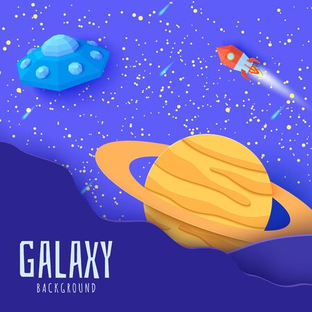 Space landscape in paper cut style. Cartoon Saturn planet, red polygonal rocket and origami UFO. Kids illustration of paper craft galaxy. 3d vector card with flying saucer in starry night sky.