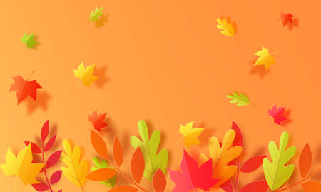 Autumn background in cut paper style. Papercut falling leaves autumn wallpaper. Autumn leaf is cut out of cardboard in green, yellow and orange. Vector card illustration for Thanksgiving day holiday