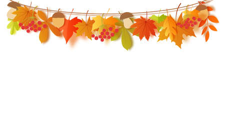 Autumn leaves and harvest hang on a rope in paper cut style. Vector 3d border with orange, green, yellow and red oak leaf mushroom and acorn. Thanksgiving day decorations for greeting card design