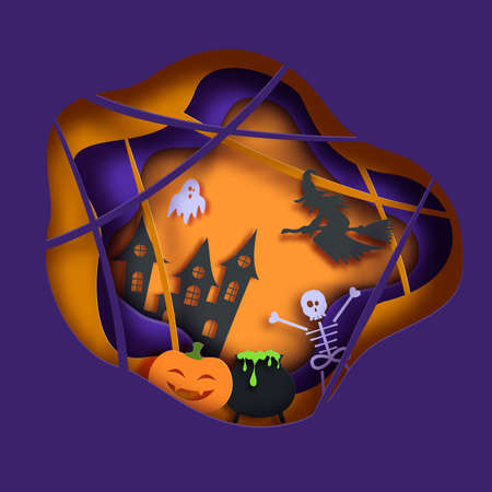 Halloween vector card illustration in paper cut style. Pumpkin ghost and skeleton cut out of cardboard on a dark background recognized. 3D bat flies over cobwebs and graveyard with graves and crosses  イラスト・ベクター素材
