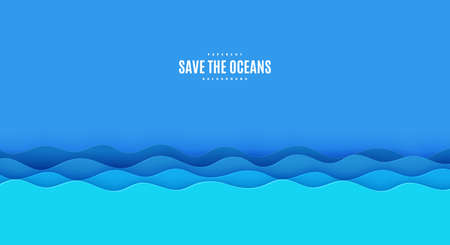 Wavy border in paper cut style. World Oceans Day 8 June cut out from cardboard blue waves. Vector 3d ecological poster cut out from paper. Craft save the sea card. Origami water for your design