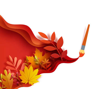 Autumn leaves wavy background in paper cut style. Cut out 3d wallpaper with creative brush stroke layered papercut art. Vector card with paintbrush draw and origami red orange yellow leaves.