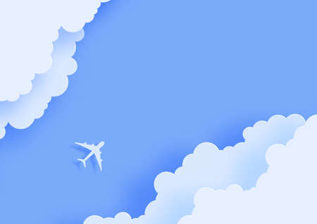 Silhouette of a passenger plane flying in the sky in paper cut style. 3d cut out of cardboard clouds and airplane in blue sky. Top view origami landscape. Vector travel illustration concept