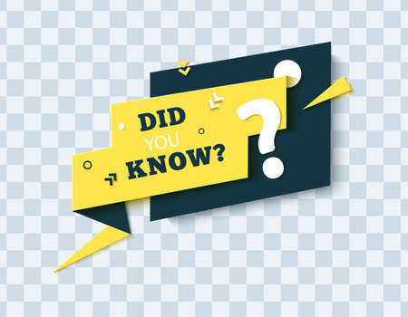 Did you know speech bubble in paper cut style. Quiz show yellow sticker in memphis retro style. 80s 90s banner with question mark and geometric shapes. Vector card illustration