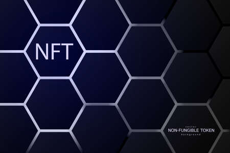 NFT non-fungible token concept on polygonal abstract background. Hexagon shapes pattern with lighting lines on dark backdrop and white non fungible token sign. Vector card illustration. Vecteurs
