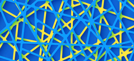 3d realistic backdrop with cut out yellow and blue color stripes entangled web. Abstract background in paper cut style. Origami technological wallpaper in papercut art. Vector card illustration Vetores