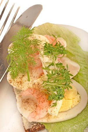 danish open sandwich with a knife and fork photo