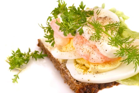 faced: Shrimp and egg smoerbroed, otherwise known as Danish open sandwich