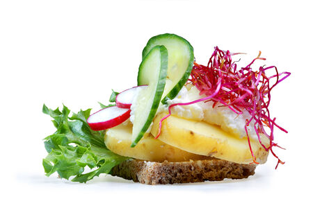 faced: smushi, a mini danish open sandwich, with potato and smoked cheese