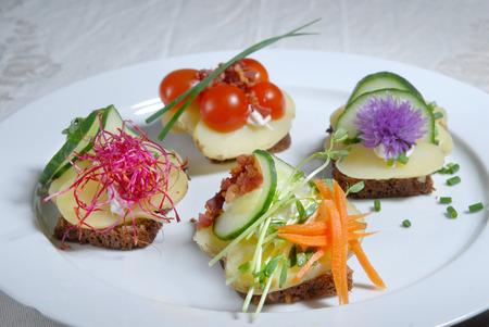 Smushi, or mini danish open sandwiches photo