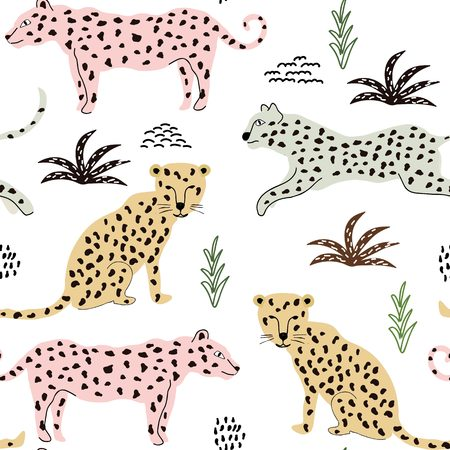 seamless pattern with leopards. background for fabric ,textile Vettoriali