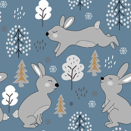 childish seamless pattern with rabbits. winter design illustration for fabric,textile, wallpaper, clothes. Foto de archivo - 112660440