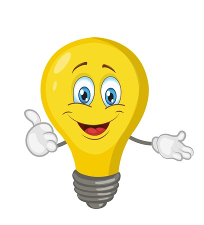 light bulb character cartoon. vector illustration