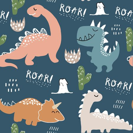 childish dinosaur seamless pattern for fashion clothes, fabric, t shirts. hand drawn vector with lettering Illustration