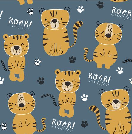 funny tigers seamlesss pattern, childish illustration for fabric,kids nursery,clothes Vectores