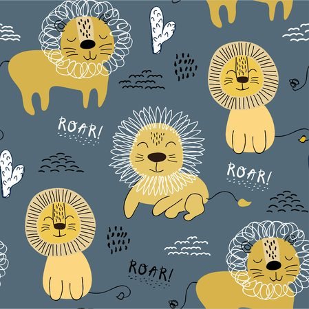 Seamless pattern with lions, background for kids fabric, textile, nursery decoration,wrapping paper.Vector Illustration Ilustrace