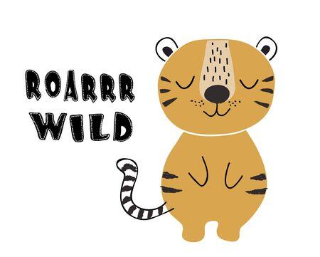 cute tiger print for kids t shirt, clothes,fabric Çizim