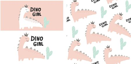 set of cute dinosaur print and seamless pattern with dinosaurs. vector