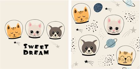 set of cute cat print and seamless pattern with cats. vector illustration Çizim