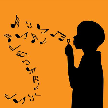 Silhoutte boy play music
