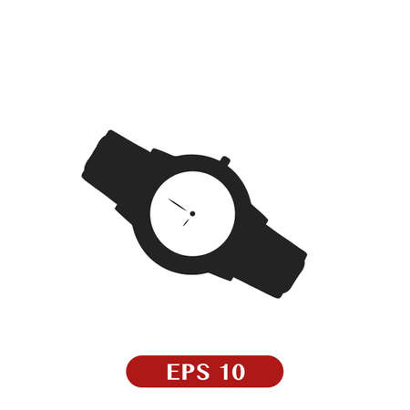 Watch icon isolated on white. Luxury man watches icon. Classic wrist chronograph clock. Mechanical retro expensive wristwatch. Hand with clock on white background Çizim