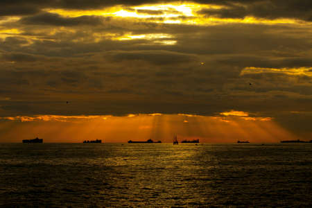 Sunset over sea landscape. Sunrise in the sea. Stock Photo
